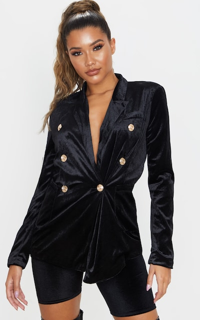 Black Velvet Double Breasted Military Blazer