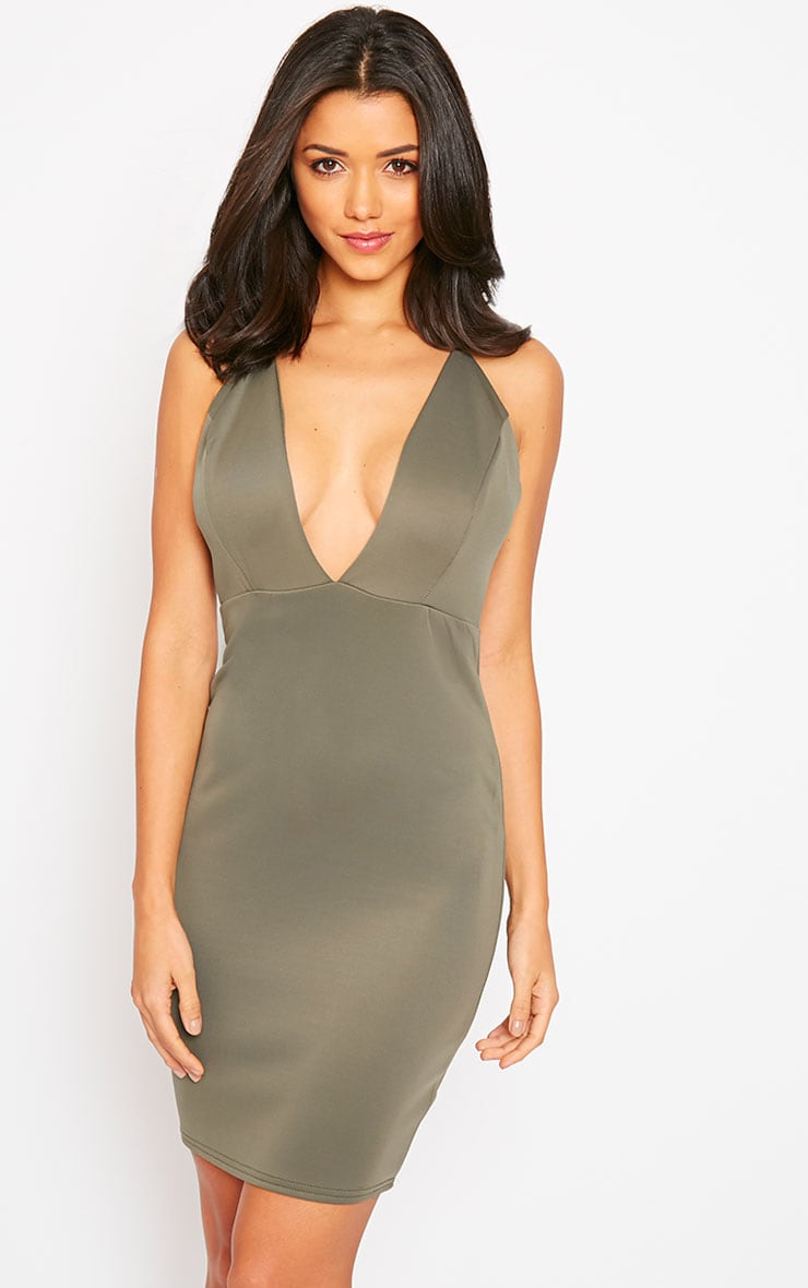 Gisele Khaki Plunge Dress 4