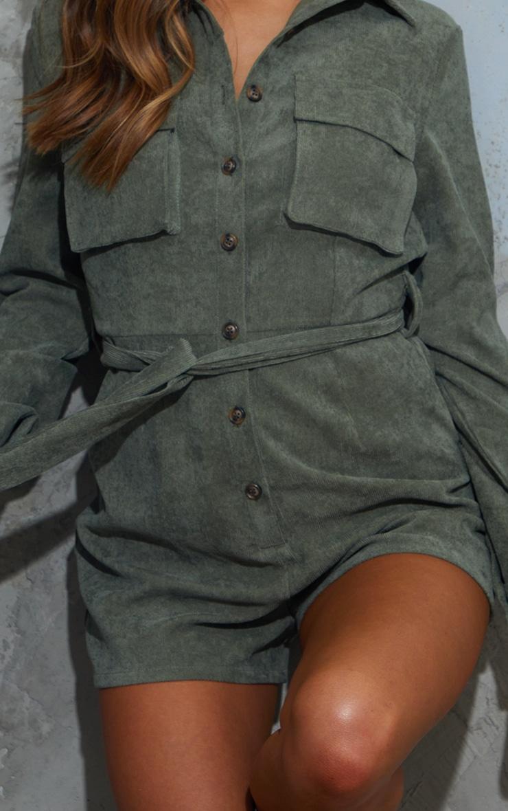 Khaki Cord Pocket Detail Romper 4
