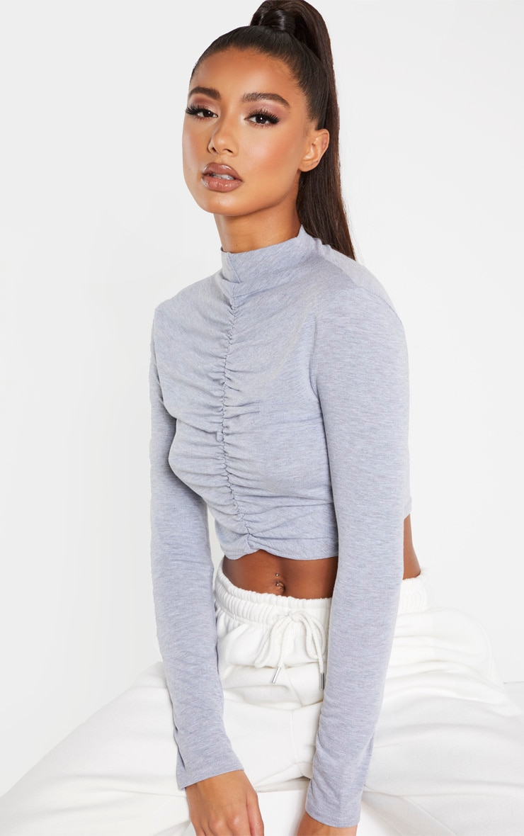 grey-jersey-high-neck-ruched-front-crop-top by prettylittlething