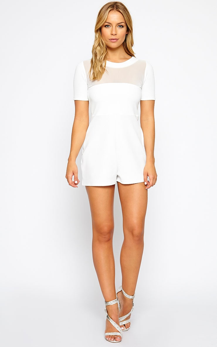 Sallie White Mesh Insert Playsuit 3