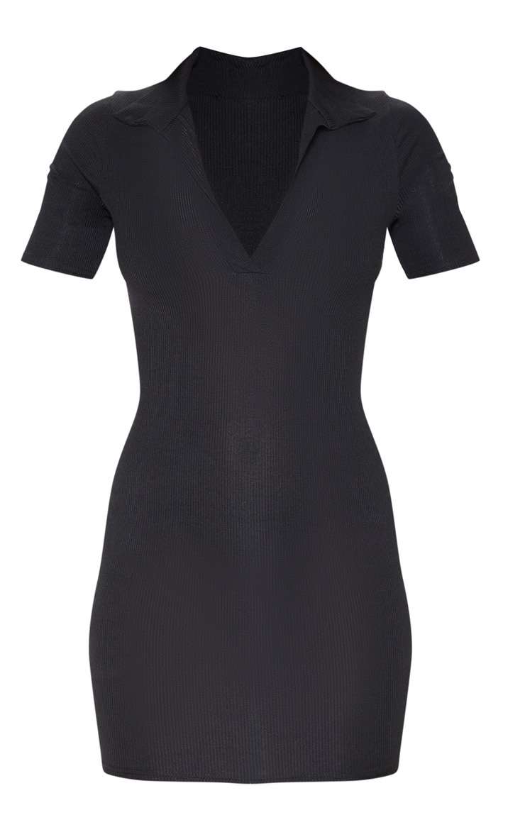 Black Ribbed Polo Shift Dress 3