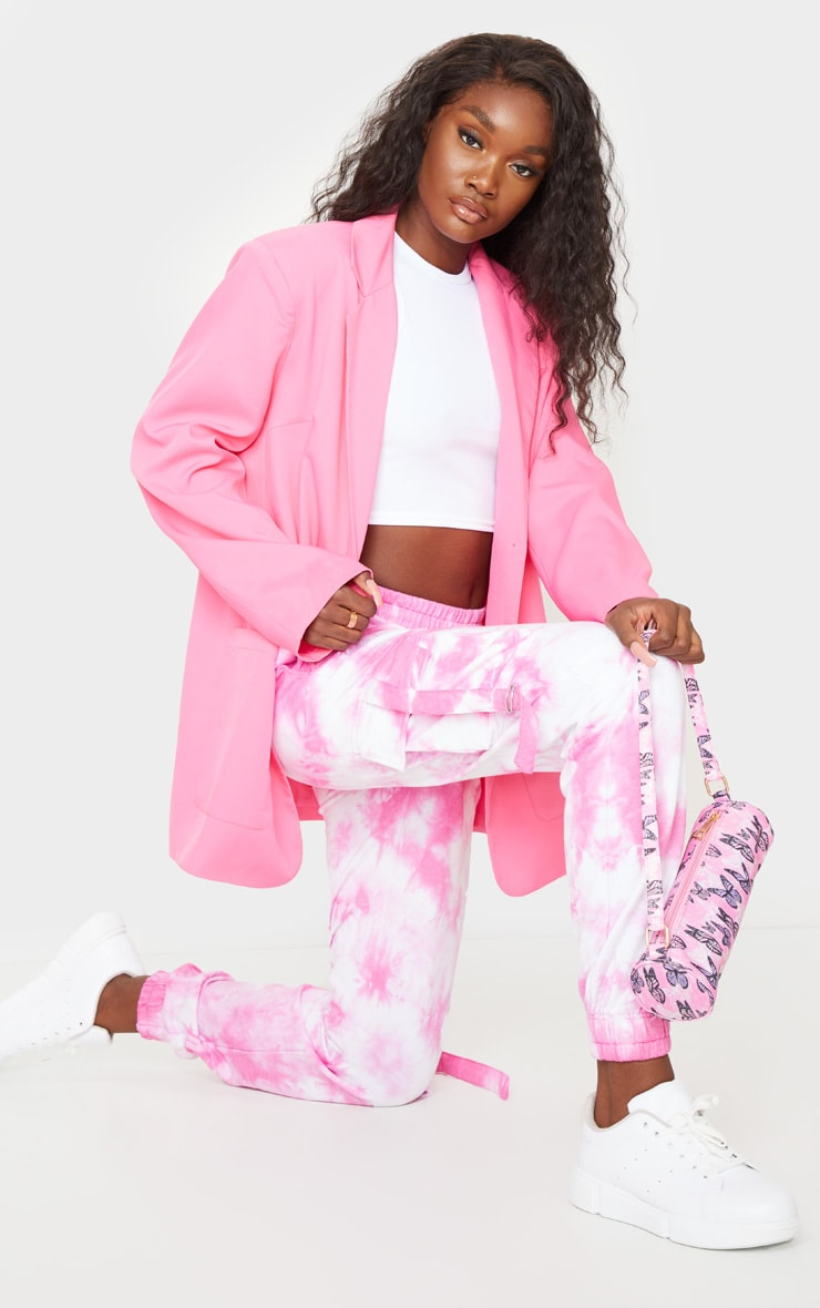 Tall Bright Pink Cargo Tie Dye Joggers 4