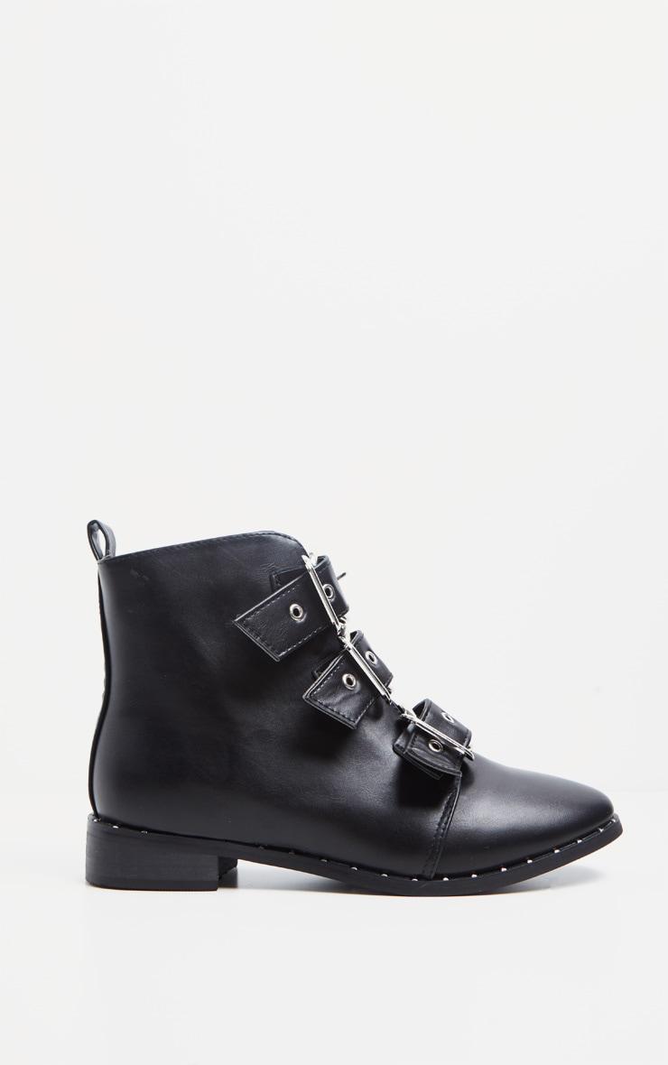 Black Triple Buckle Ankle Boot 4