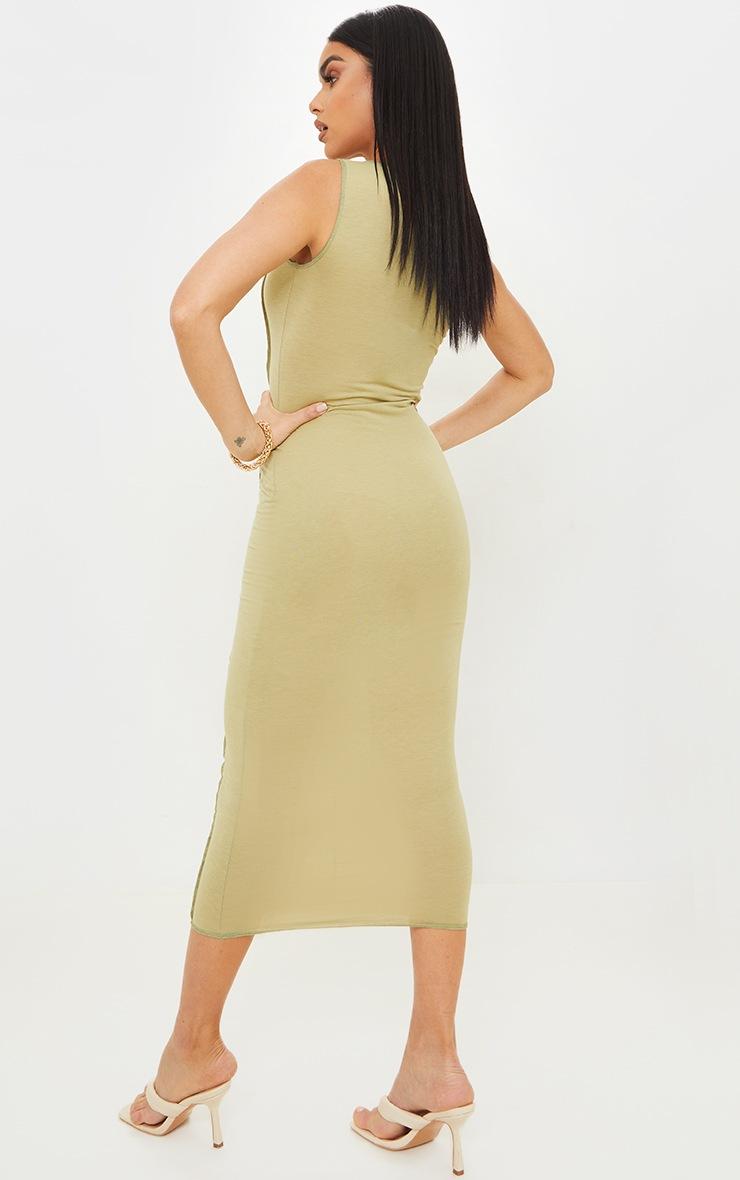 Olive Cotton Sleeveless Overlock Stitch Detail Midi Dress 2