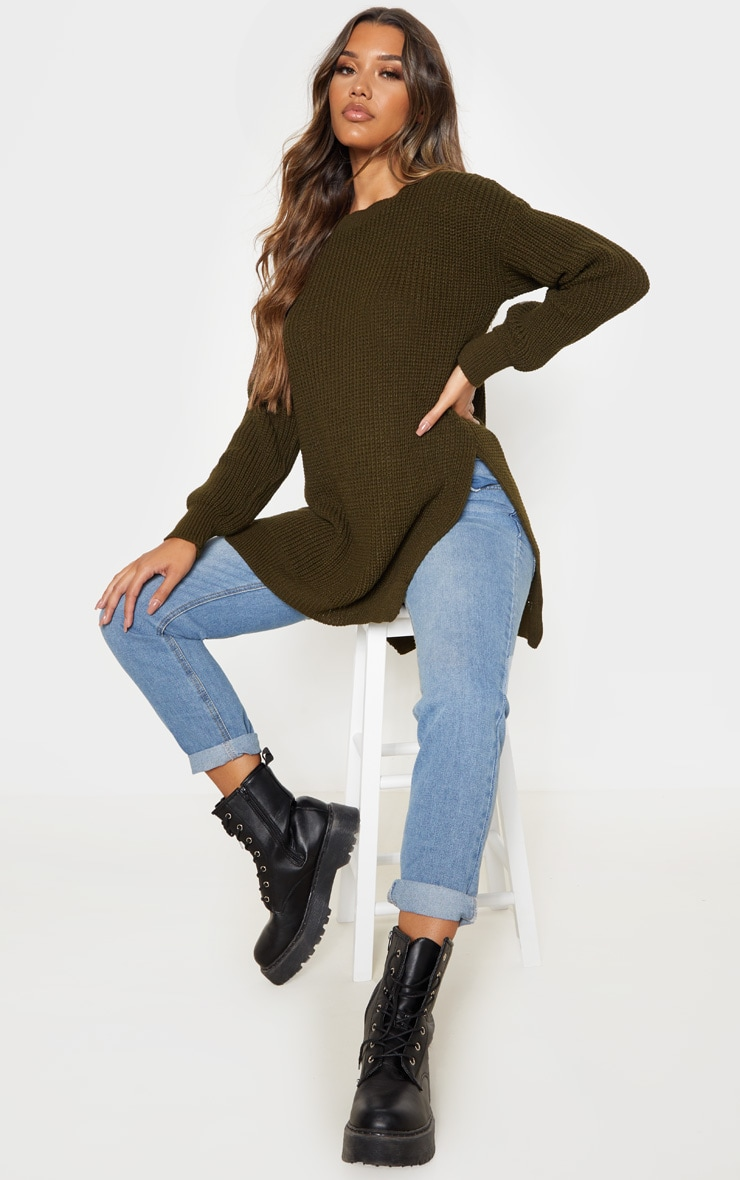 Dark Khaki Round Neck Side Split Sweater 4