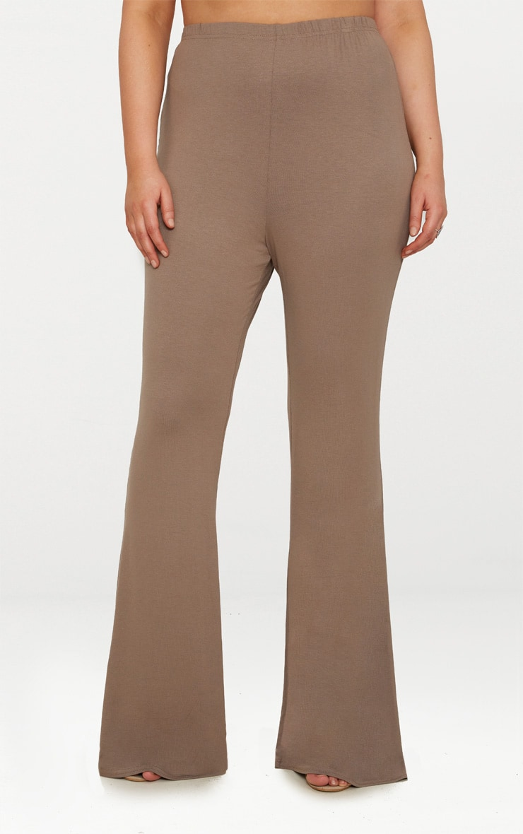 Plus Mocha Basic Flared Trousers 2