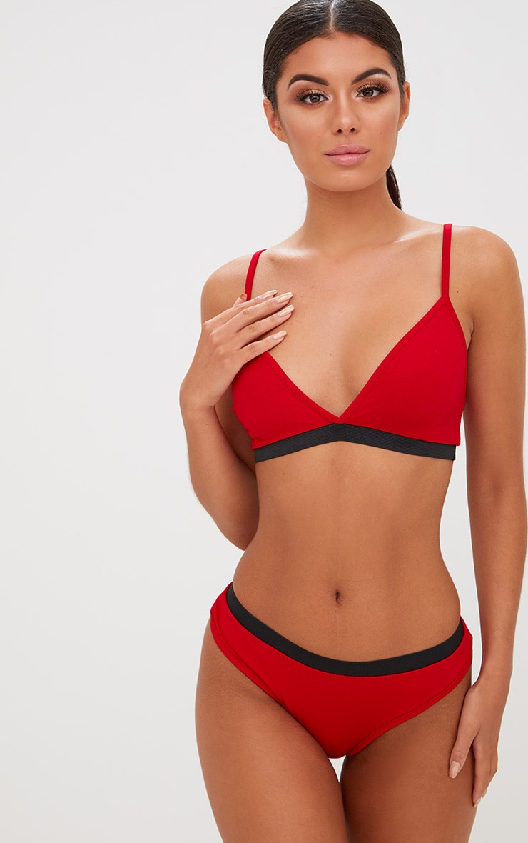 Basic Red Jersey Bra and Knicker Set 1