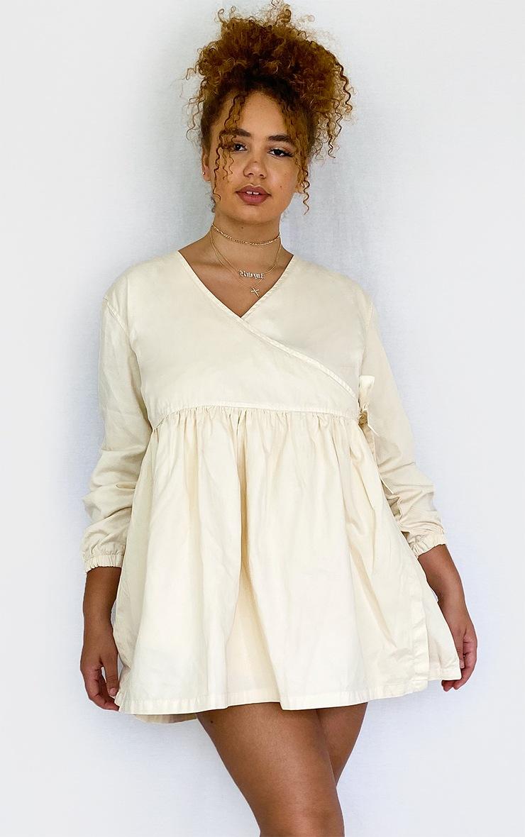 Plus Ecru Wrap Detail Denim Dress 3