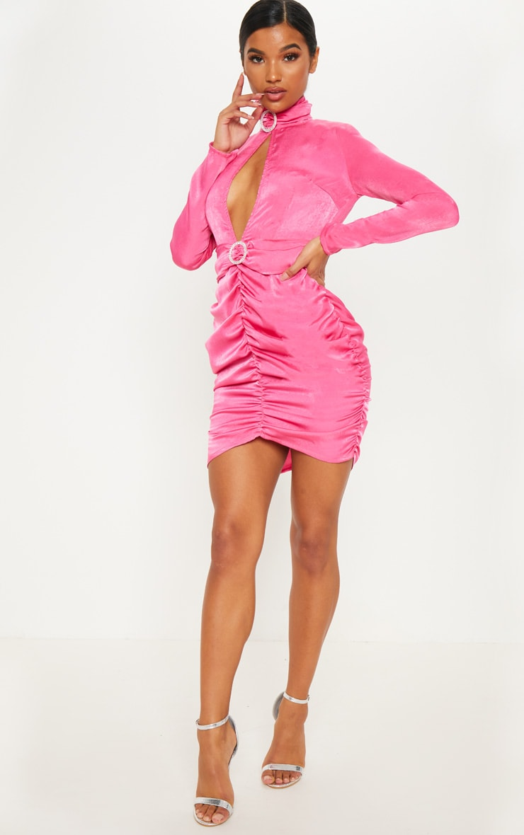 Hot Pink Diamante High Neck Ruched Bodycon Dress