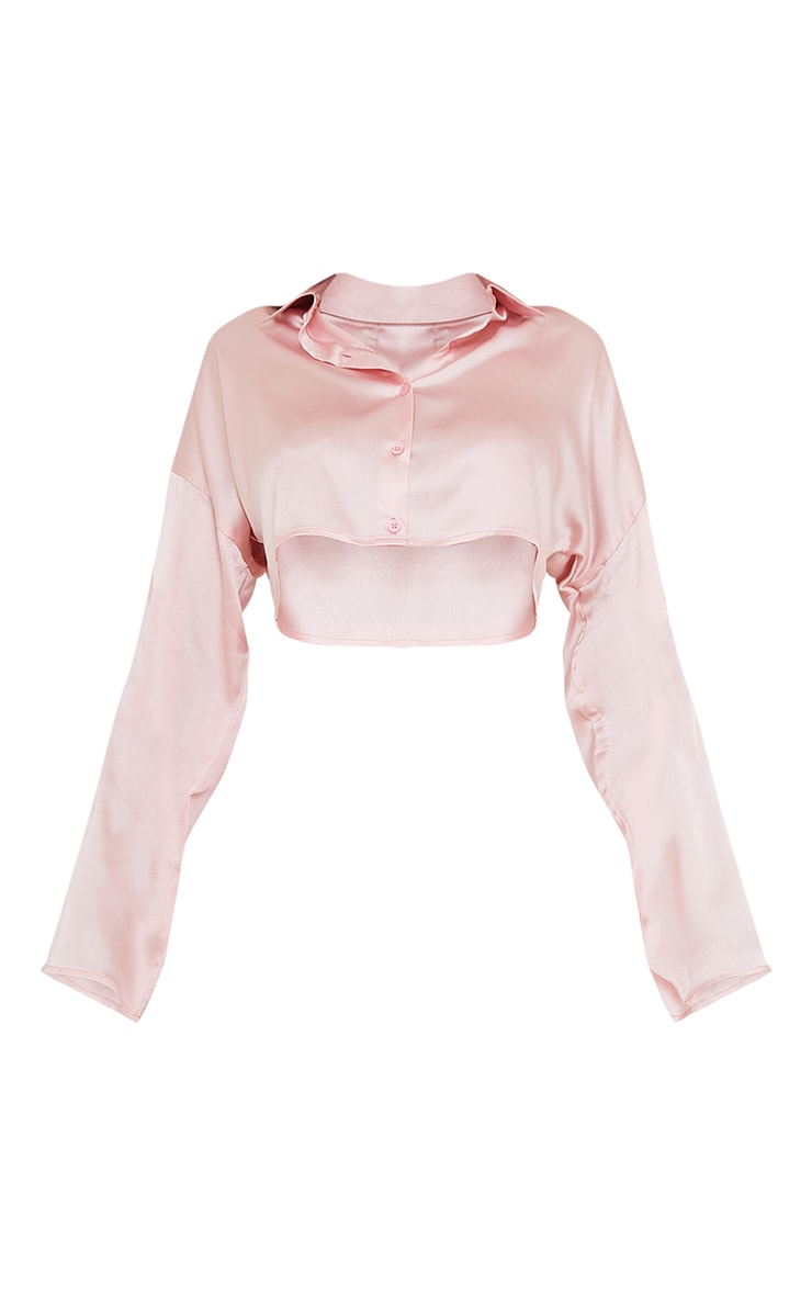 Pink Satin Cropped Shirt And Wide Leg Trousers PJ Set 5