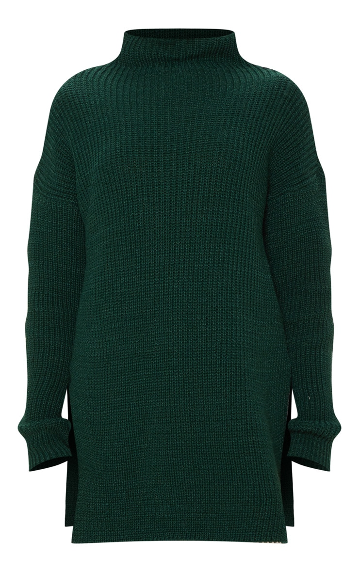 Bottle Green High Neck Oversized Jumper  3