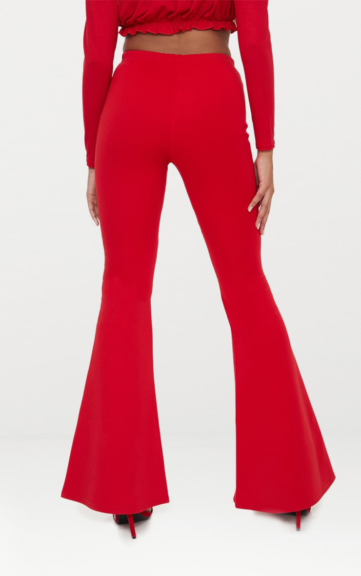 Petite Red High Waist Extreme Flare Trousers 4