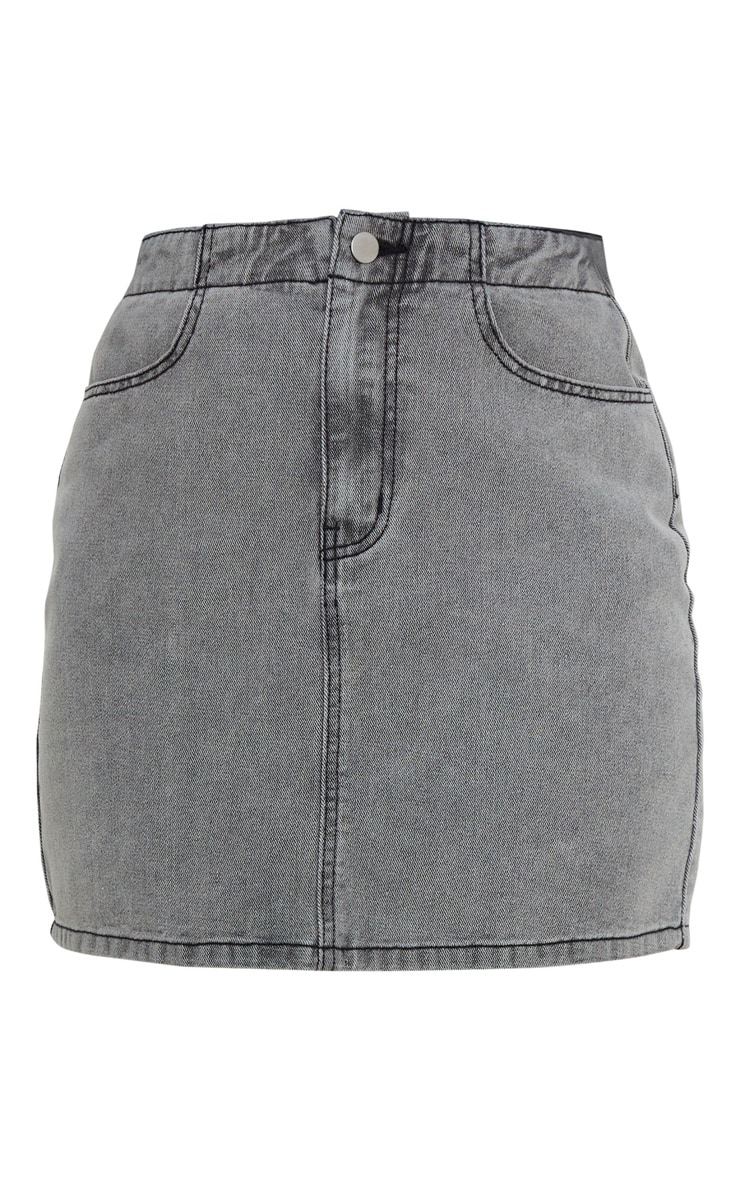Washed Grey Ruched Waist Denim Skirt 5
