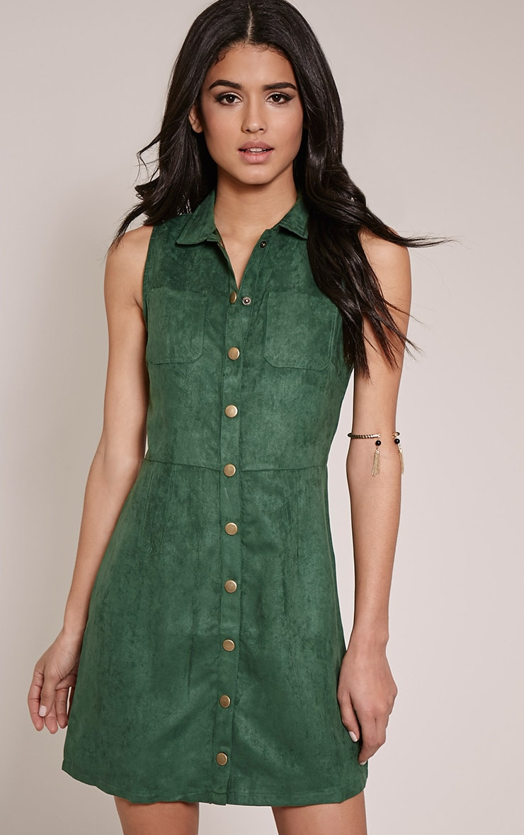 Maisy Bottle Green Button Down Faux Suede Pinafore Dress 1