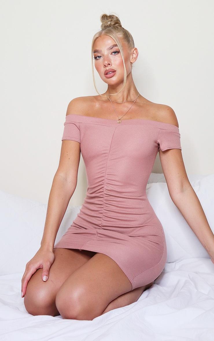 Rose Rib Ruched Front Bardot Bodycon Dress 1