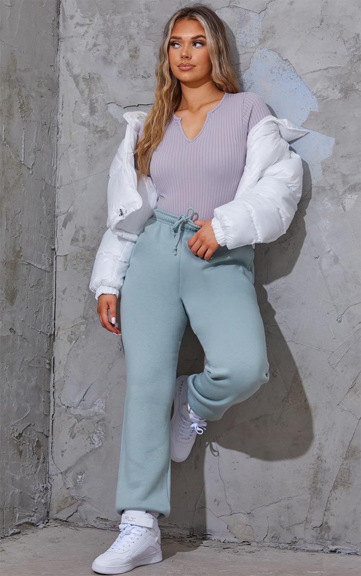 Grey Wide Rib V Cut Out Long Sleeve Bodysuit 3