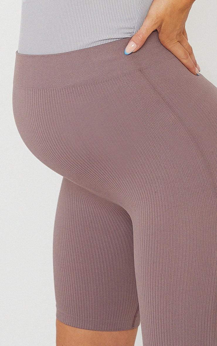 Maternity Mauve Contour Bump Support Ribbed Bike Shorts 5