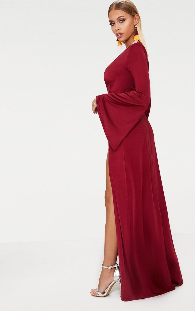 Burgundy Plunge Extreme Double Split Long Sleeve Maxi Dress 2