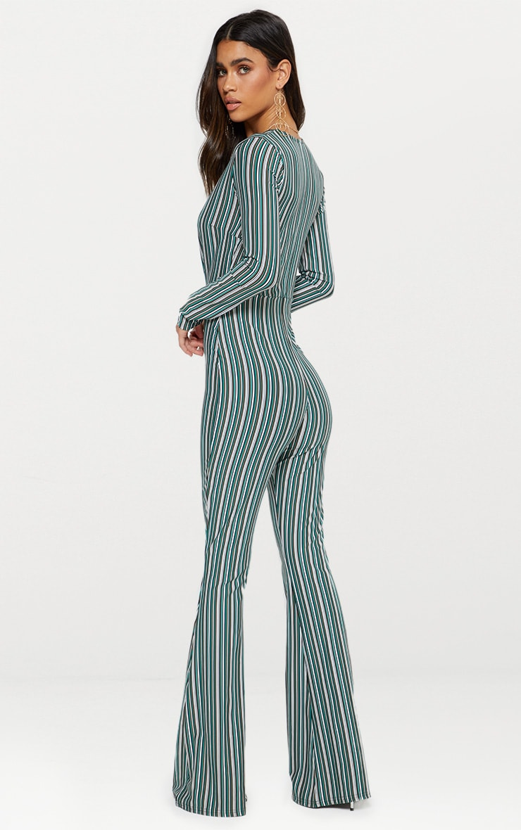 Green Striped Long Sleeve Plunge Jumpsuit  2
