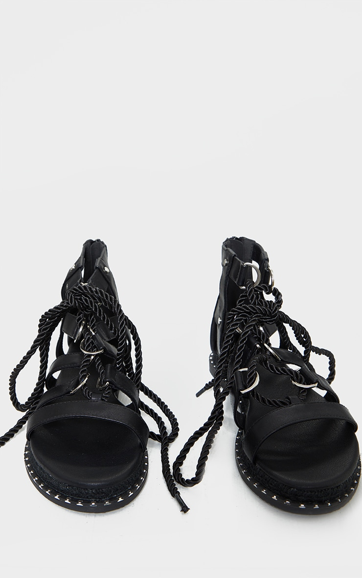 Black Stud Detail Lace Up Gladiator Sandals 3