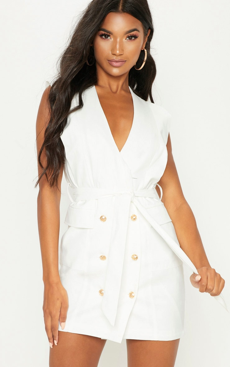 White Sleeveless Gold Button Detail Blazer Dress 4