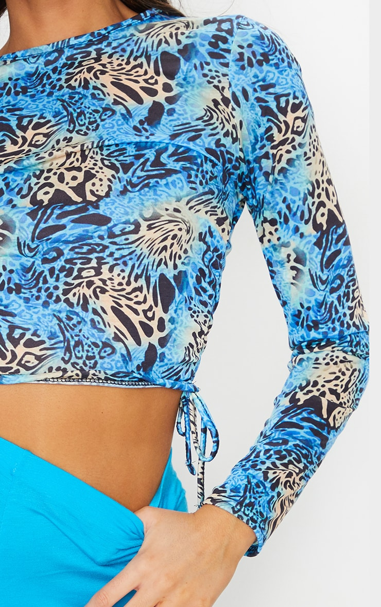 Blue Printed Jersey Ruched Side Long Sleeve Top 4