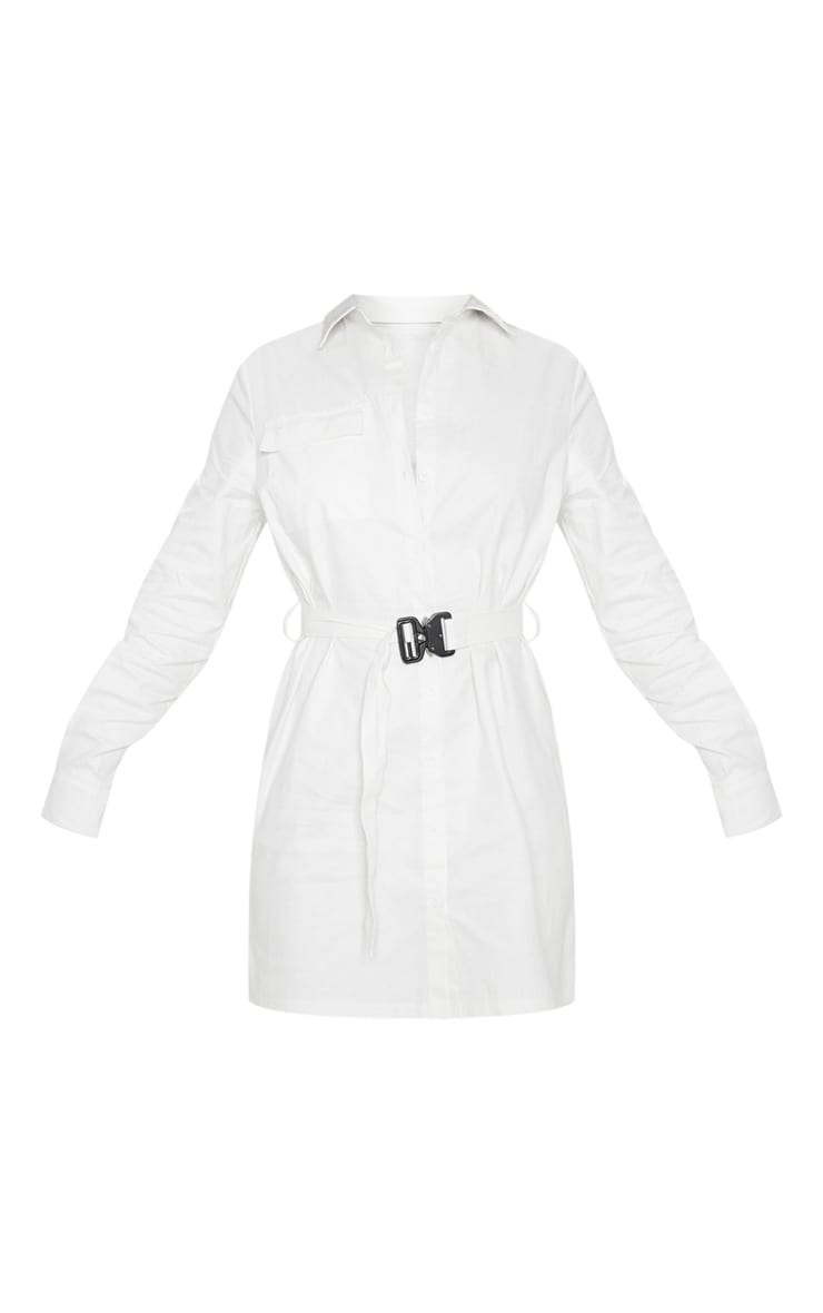 White Clasp Detail Buckle Cargo Shirt Dress 3