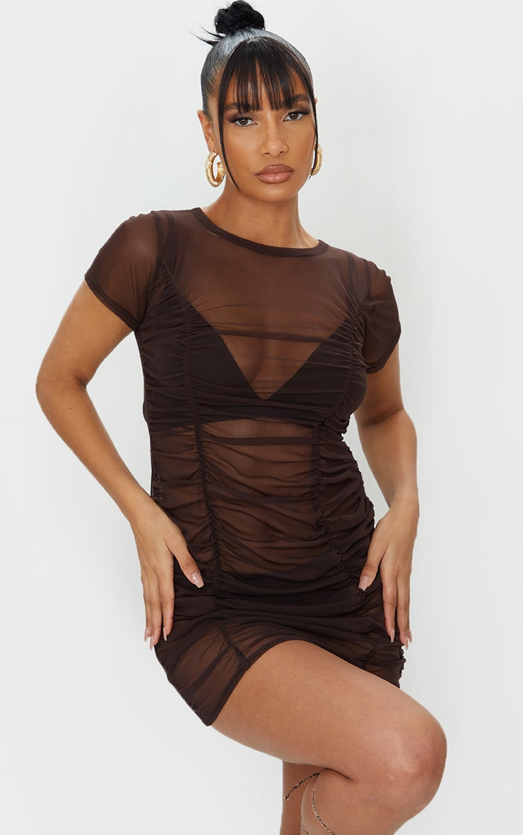 Chocolate Mesh Ruched Short Sleeve Bodycon Dress 3