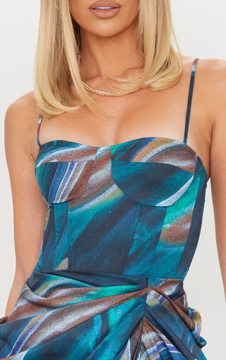 Turquoise Marble Print Structured Corset Top 4