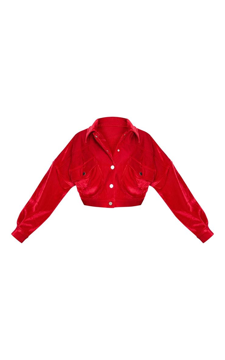 Red Cord Oversized Trucker Jacket 5