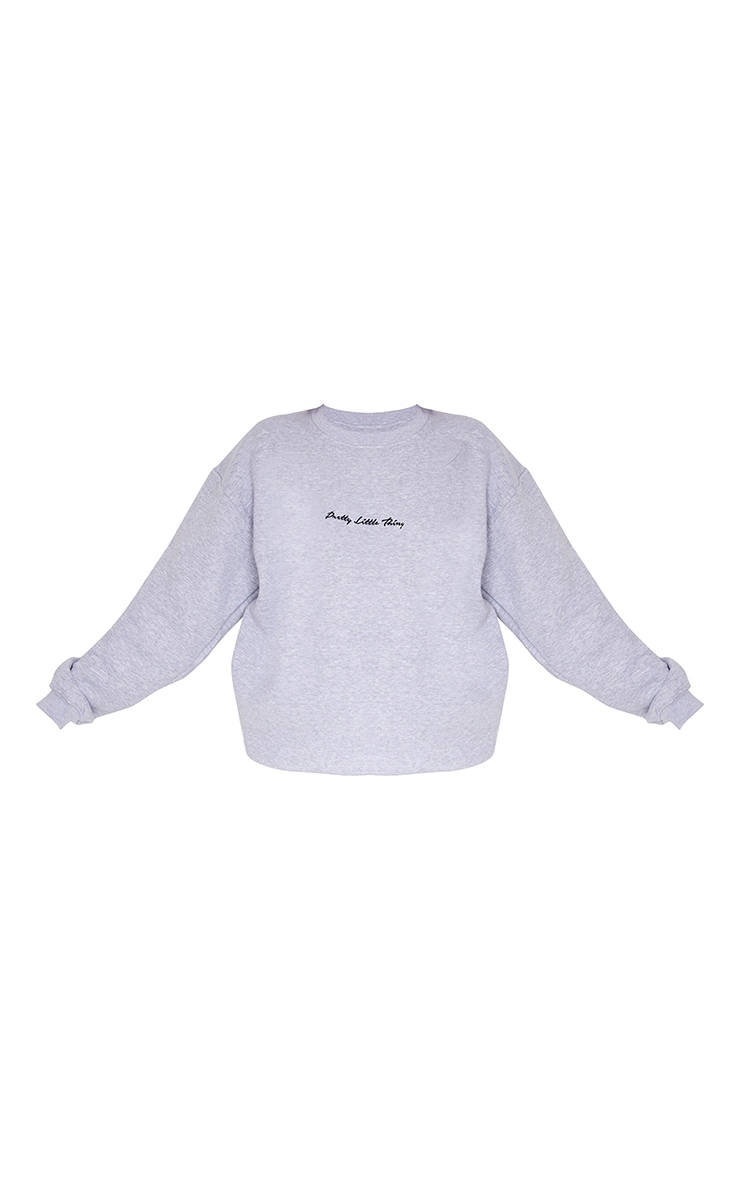 PRETTYLITTLETHING Ash Grey Marl Oversized Sweatshirt 5