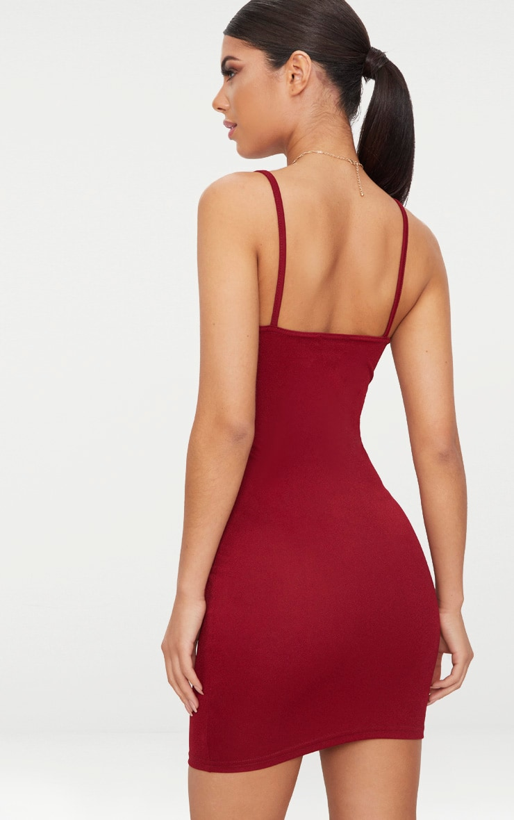 Burgundy  Strappy Straight Neck Bodycon Dress 2