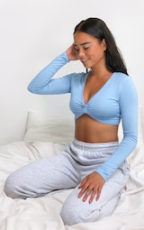 Baby Blue Jersey Plunge Knot Front Long Sleeve Crop Top 3