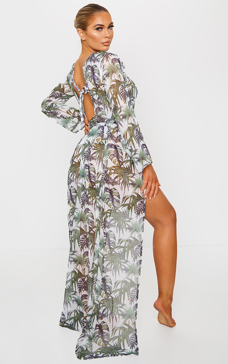 White Palm Print Backless Tie Waist Beach Kimono 2
