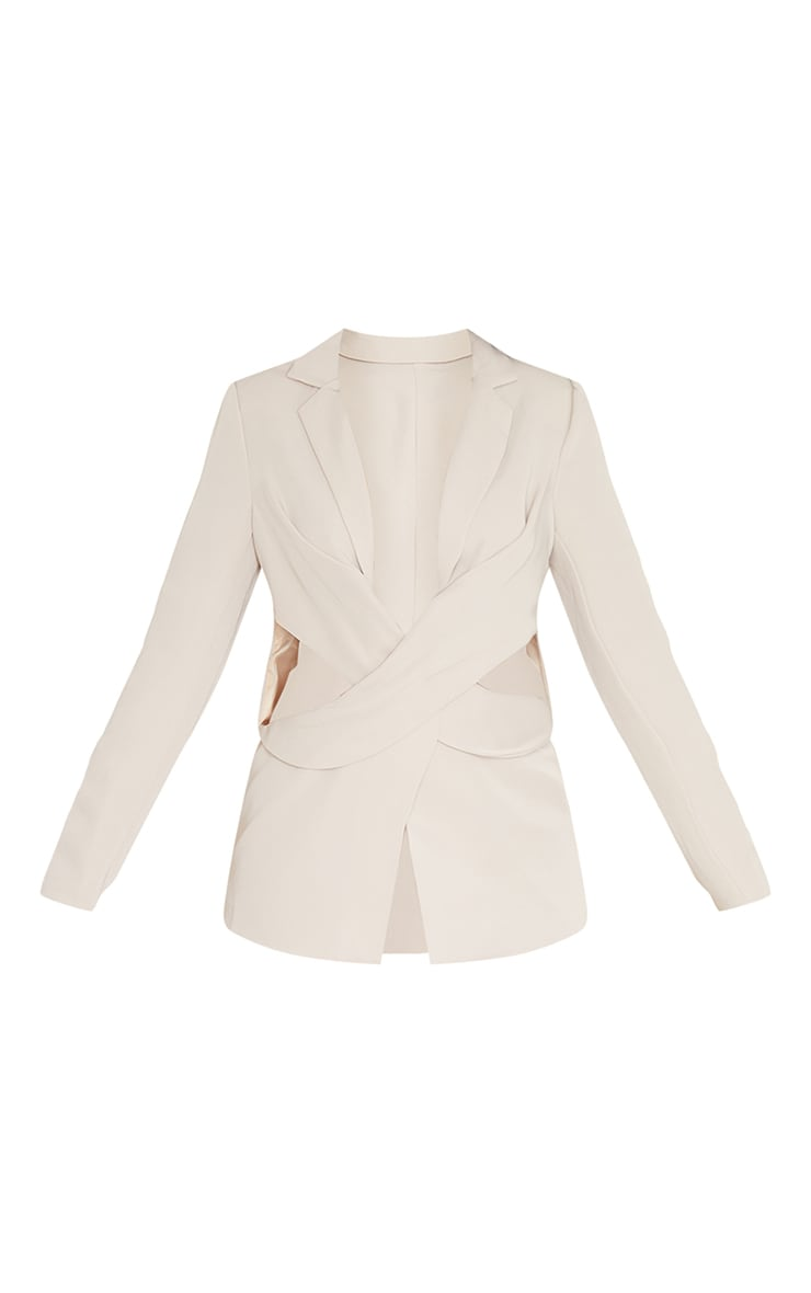Stone Woven Tailored Cut Out Waist Wrap Over Blazer 5