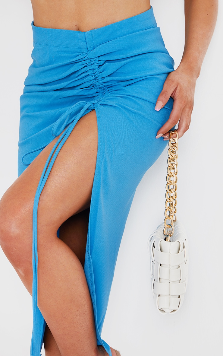 Blue Ruched Woven Detail Midi Skirt 4