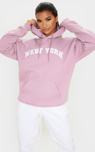 Ecru New York Slogan Drawstring Sweat Crop Hoodie