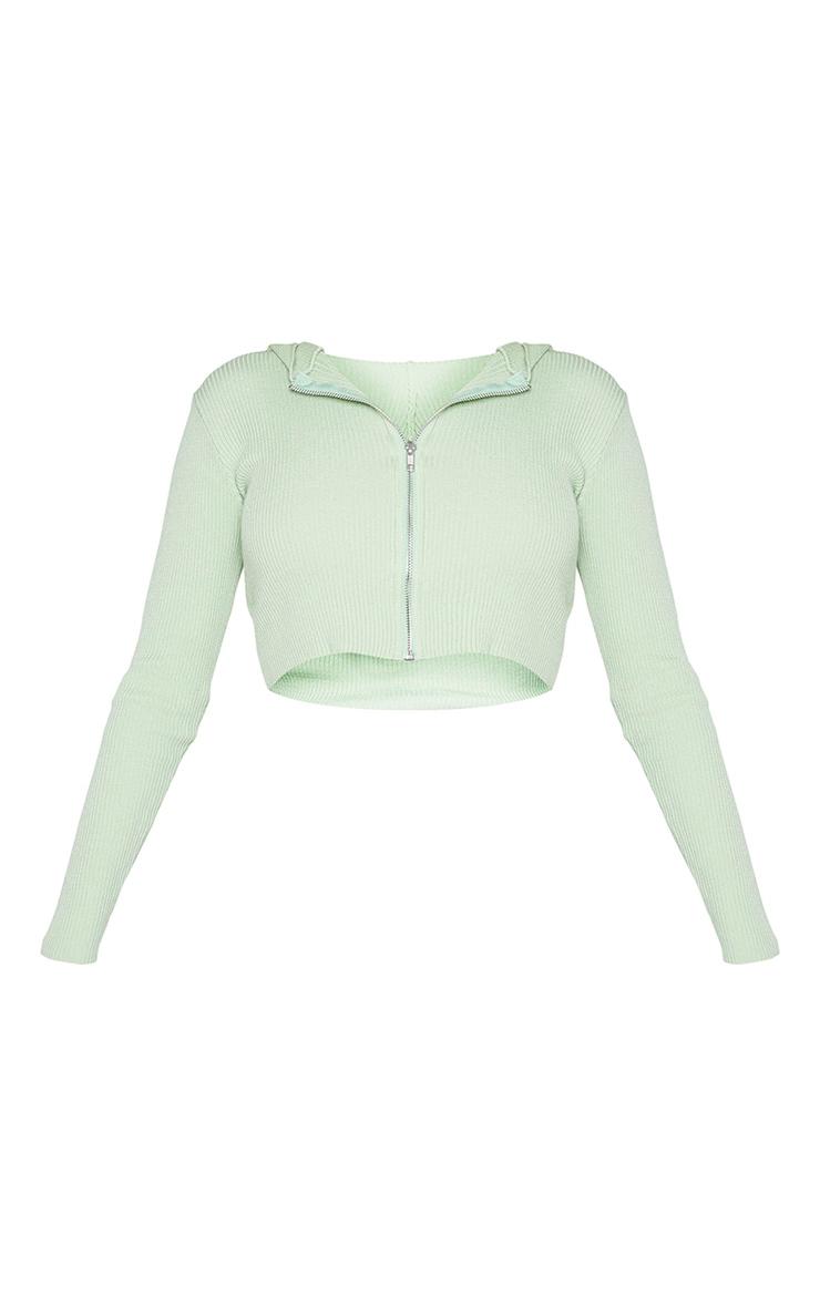Sage Green Fine Gauge Knitted Zip Up Cardigan 5