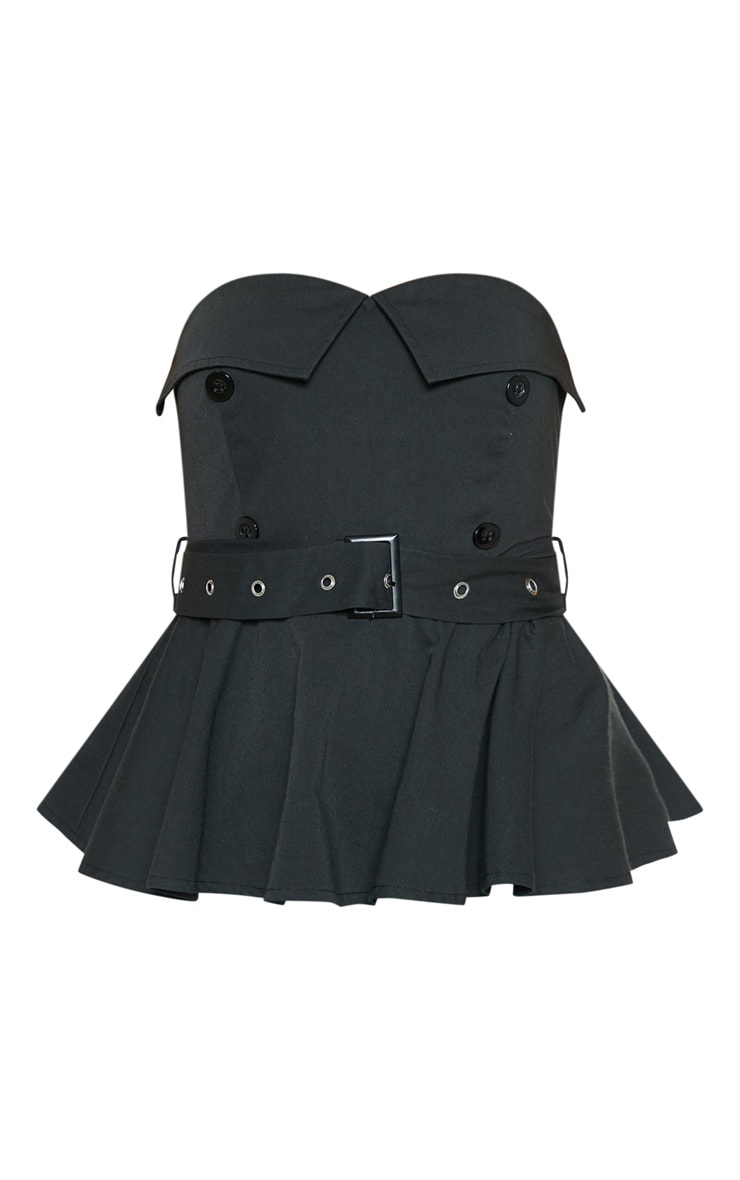 Black Bardot Belt Detail Peplum Top 3