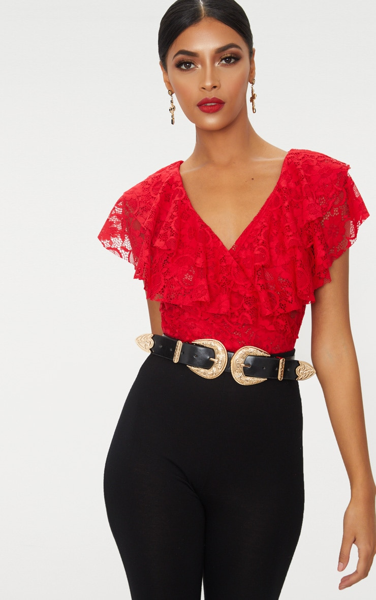Red Lace Double Frill Thong Bodysuit 2