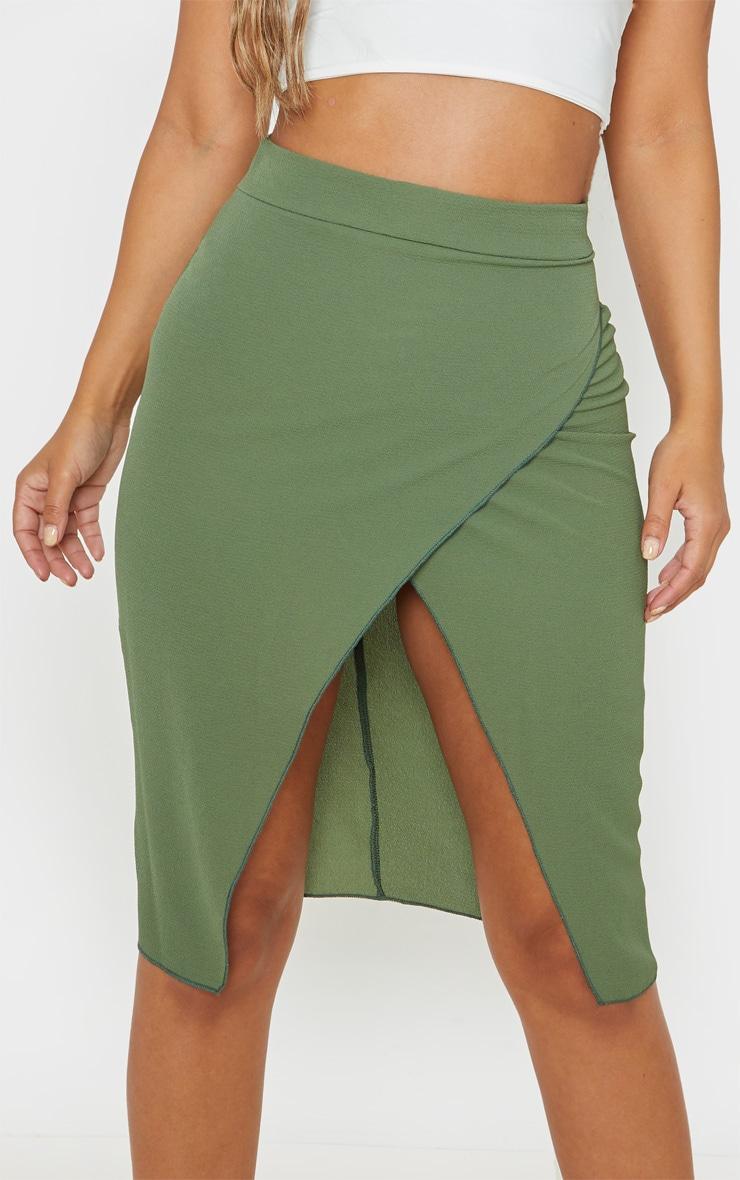 Petite Khaki Wrap Pencil Skirt  4