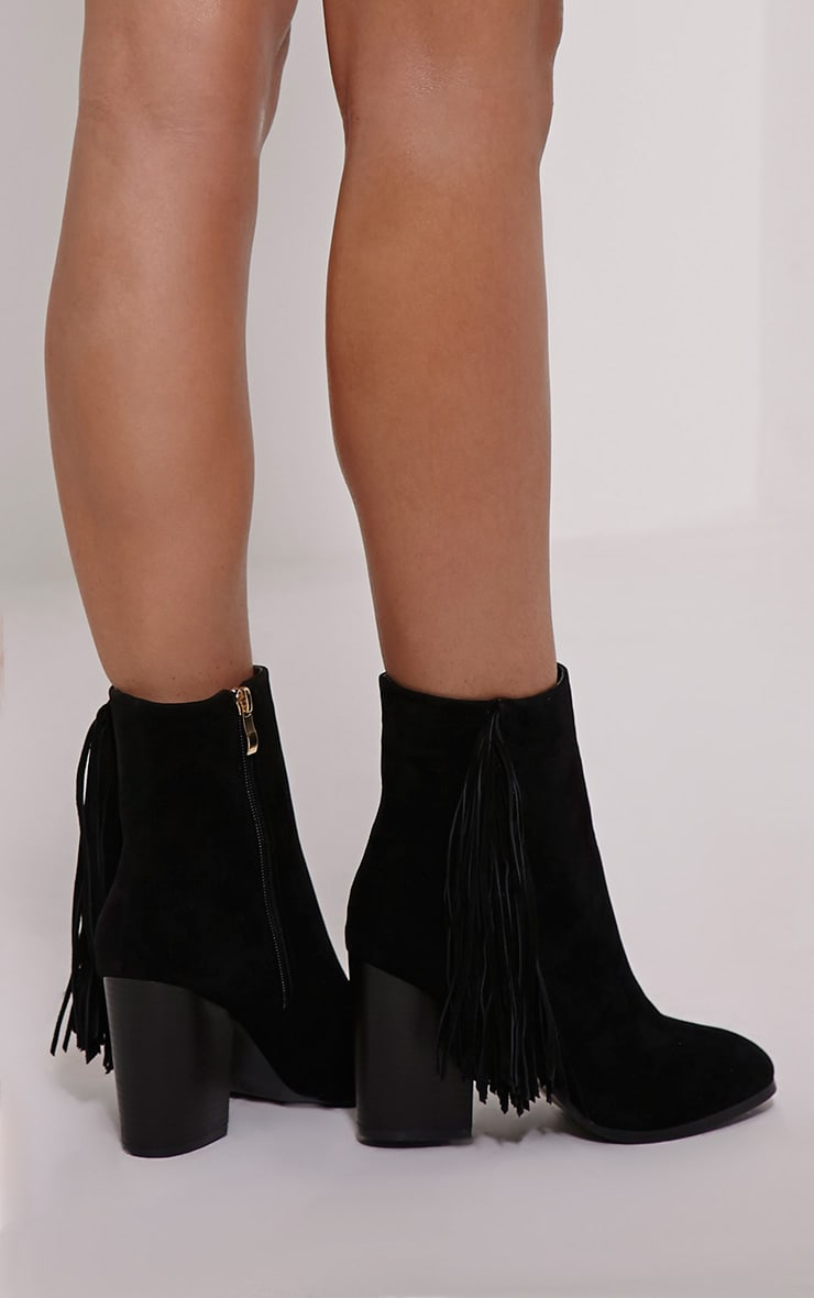 Yasmina Black Fringe High Ankle Boots 2