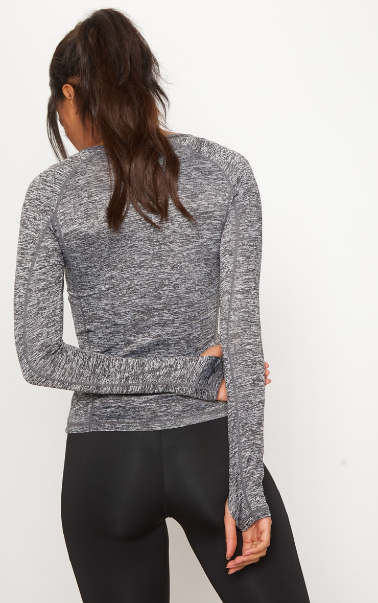 Grey Marl Long Sleeve Gym Top 2