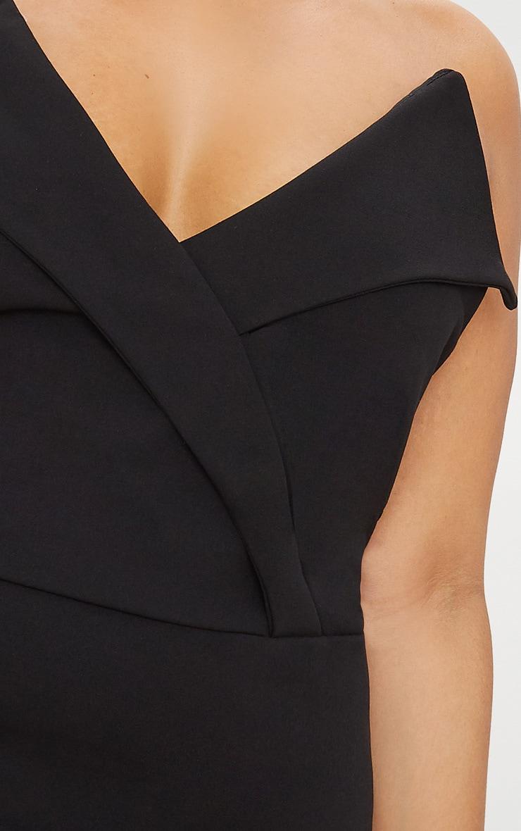 Plus Black Tux Detail Bandeau Thong Bodysuit  6