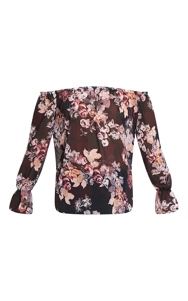 Graciel Black Floral Bardot Top 3