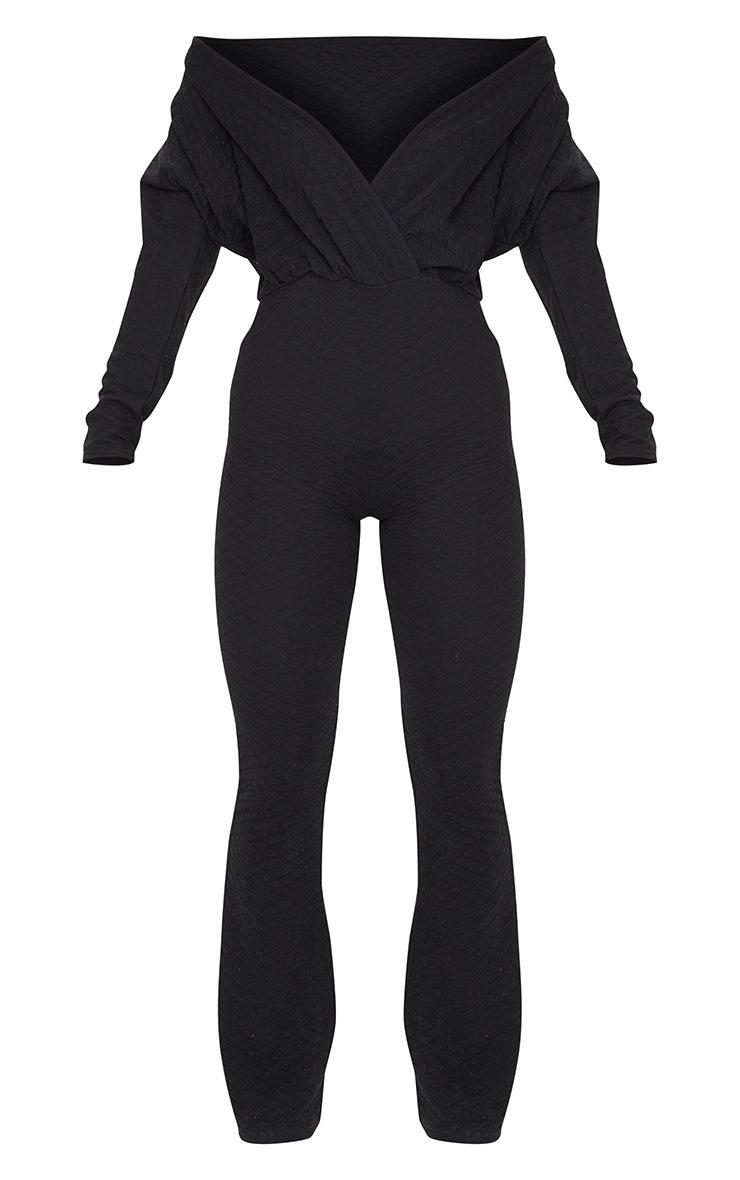 Black Off Shoulder Wrap Waffle Jumpsuit 5
