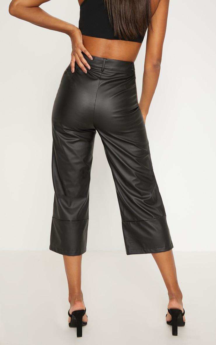 Black Faux Leather Culotte 4