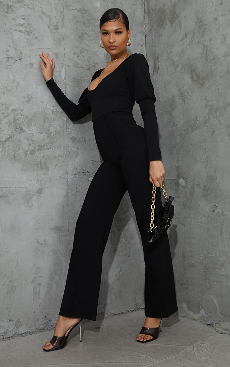 Black Lace Up Back Puff Sleeve Jumpsuit 3