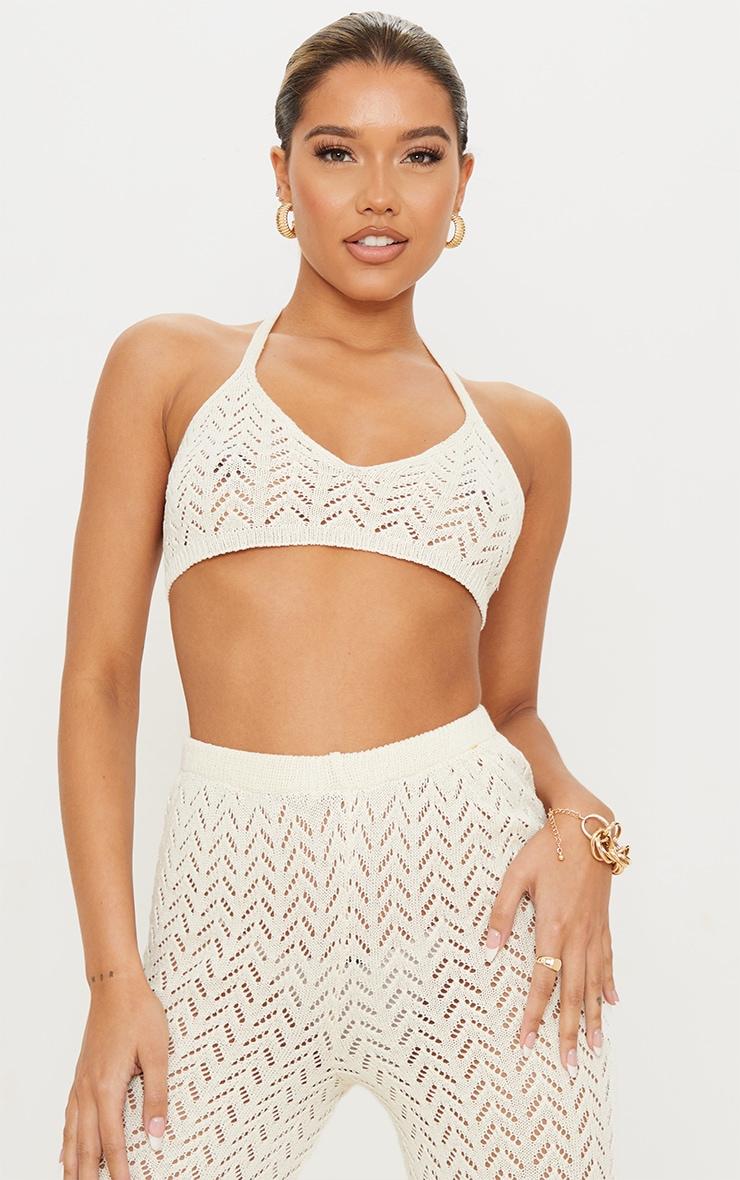Cream Crochet Knitted Halter Neck Bralet 1